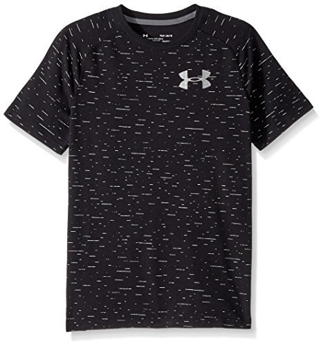 Under Armour Boys' Cotton Knit Short Sleeve Shirt, Black (001)/Graphite, Youth X-Large