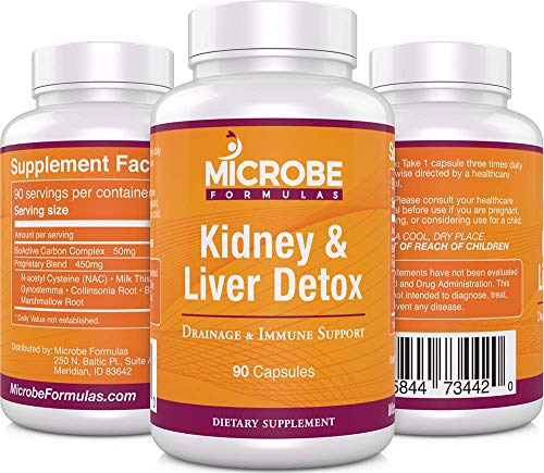 Microbe Formulas: Kidney & Liver Detox - Drainage & Immune System Support - 90 Capsules - Supports Healthy Kidney & Liver Function - Provides Detox Support - Promotes Improved Bioflow