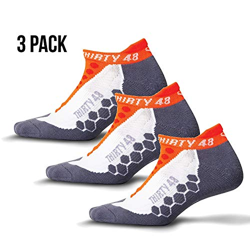 Thirty 48 Running Socks for Men and Women Features Coolmax Fabric That Keeps Feet Cool & Dry - 1 Pair or 3 Pair ([3 Pairs] Orange/Gray, Small - Women 7-8.5 // Men 4-7)