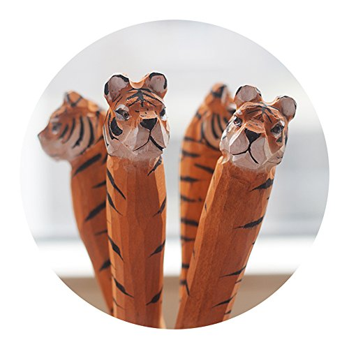 Home-organizer Tech Wood Cartoon Pens Ballpoint Gel Ink Writing Pen Office School Students Pen Zoo Animals Collection - Great Affordable Gift For Kids and Adults (Tiger) (Tiger Pen Eye Ballpoint)