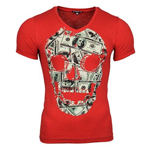 Clubwear Kurzarm Herren V-Neck T-Shirt Optik Shirt Skull Shirt Schwarz Rot Weiß, Größe:M, Farbe:Rot