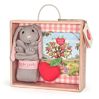 Apple Park Blankie Book and Rattle Gift Crate