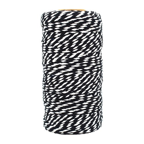 Bakers Twine Black and White, LaZimnInc Cotton Twine Packing String for Gardening, Decoration, Tying Cake and Pastry Boxes, Silverware, DIY Crafts & Gift Wrapping, Art and Crafts (2 mm/328Feet) (White Cotton Twine Bakers)