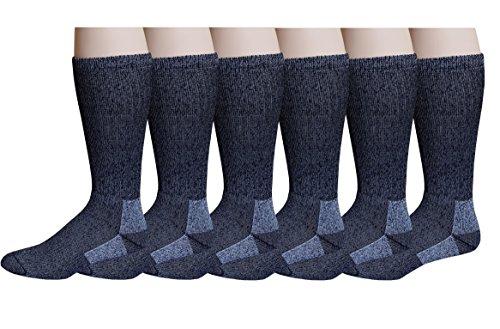 6 Pairs Pack Men's 75% Merino Wool Hiking Thermal Socks (13-16)