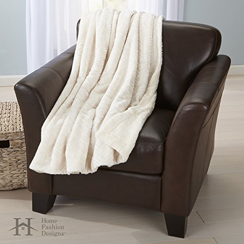 White Velvet Design (Premium Reversible Two-in-One Berber and Sculpted Velvet Plush Luxury Blanket., Cozy, All-Season Sherpa Throw Blanket. By Home Fashion Designs Brand. (White))