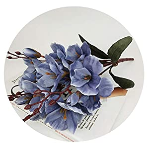 Zalin rtificial Silk 5 Branch Magnolia Home Hotel Table Decoration Fake Flower Wedding Bride Holding Photography Props,Blue 114