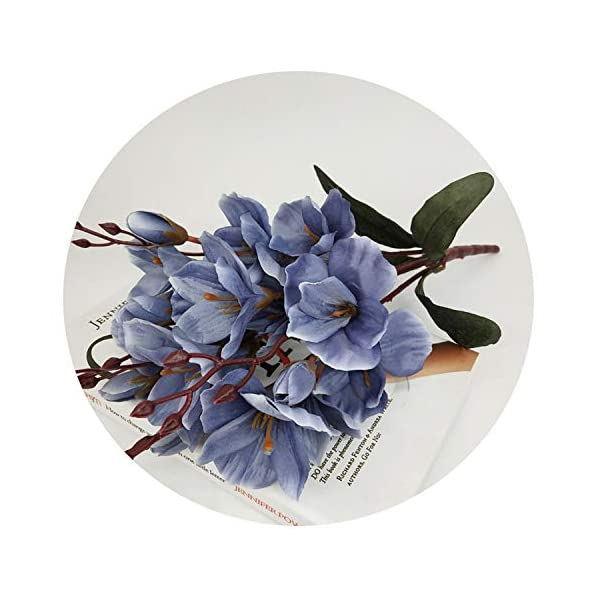 Zalin rtificial Silk 5 Branch Magnolia Home Hotel Table Decoration Fake Flower Wedding Bride Holding Photography Props,Blue
