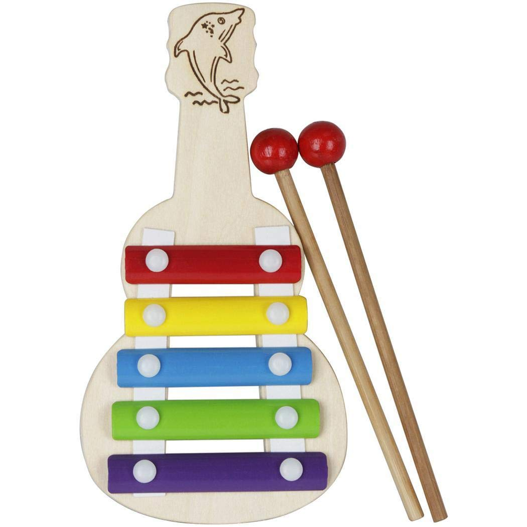fikole Wooden Xylophone Baby Musical Toy Instrument Piano with 5Colored Metal Key with 2 Child-Safe Mallets for Kids Toddlers