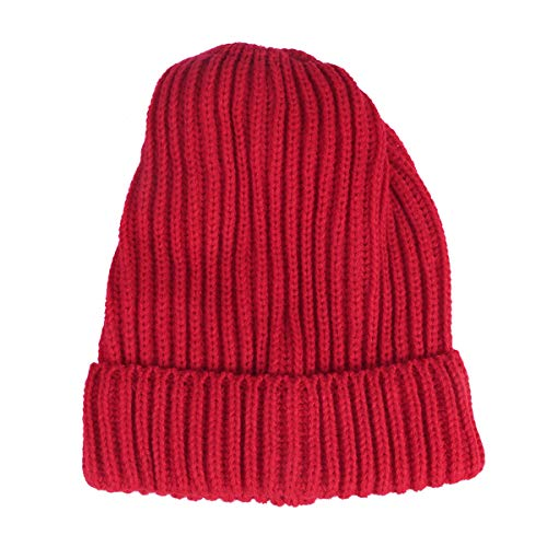 Beanie Stripe Single - Fashion Ribbed Knitted Wool Ski Cap Winter Warm Solid Color Beanies Single Layer Cuff Vertical Stripes Hat (Red)