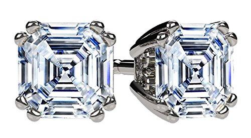 NANA Asscher Cut Swarovski CZ Stud Earrings Silver & 14k Gold Post -5mm-1.50cttw - Platinum (Asscher Stud Earrings)