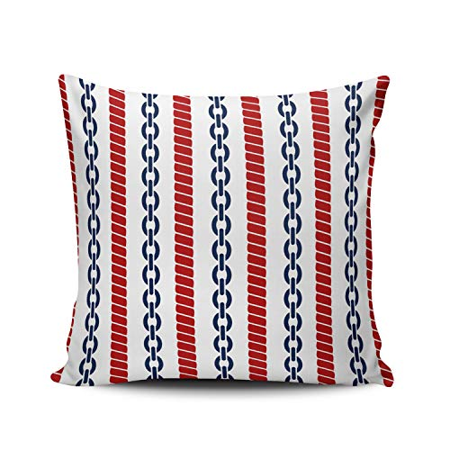 MUKPU Fashion Home Decoration Design Throw Pillow Case Red Blue and White Nautical Rope and Chain 24X24 Inch Square Custom Pillowcase Cushion Cover Double Sided Printed (Set of 1)