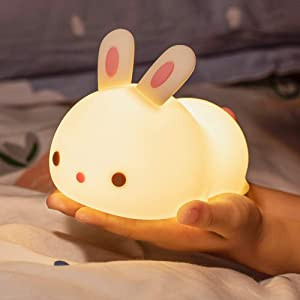 Led Nursery Night Light for Kids, Portable Soft Silicone Bunny Kids Night Light, Rechargeable Color Changing Cute Lamp Animal Toddler Nighlights for Children Adults Bedroom