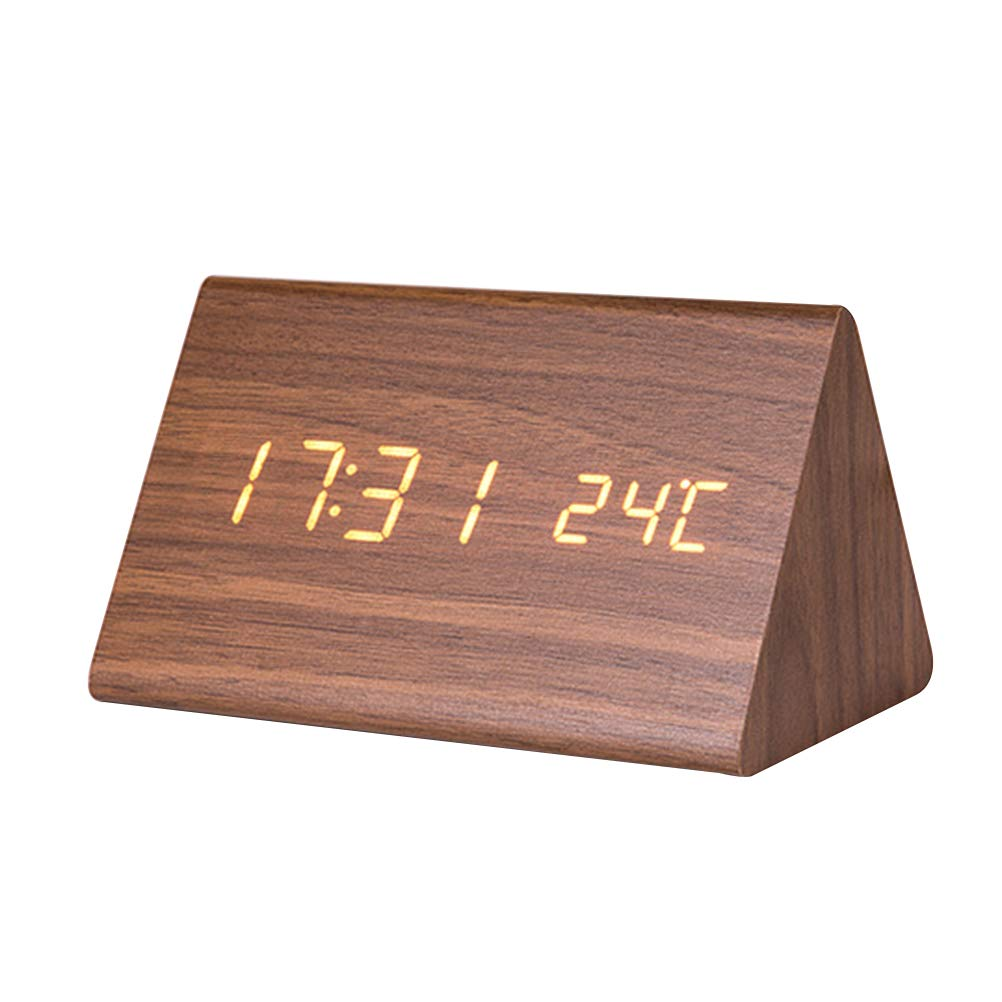 Vosarea LED Wood Digital Alarm Clock Luminous Silent Clock Time Temperature Adjustable Brightness (Brown Wood and White Display)