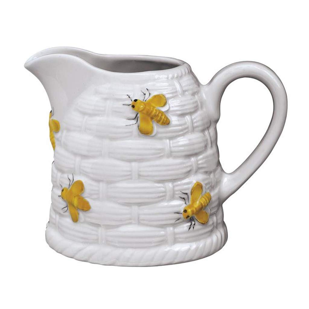 Fitz and Floyd, Andrea By Sadek Yellow Bees Beehive Creamer 3.5In 6 Oz