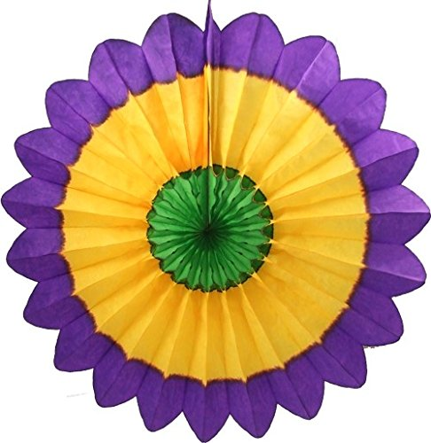 (3-pack 27 Inch Extra-Large Honeycomb Tissue Paper Party Fanburst Decoration in Seasonal Themes (Mardi Gras - Purple / Yellow /)