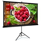 Upgraded Projector Screen with Stand JWST 100' 16:9 HD 4K Indoor and Outdoor Movie Projection Screen with Premium Wrinkle-Free and Pull-Up Design