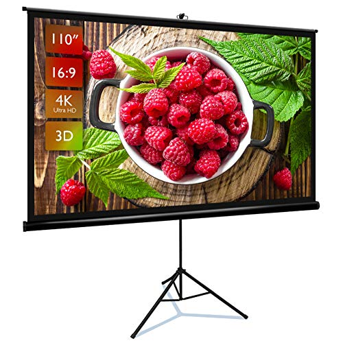Projector Screen with Stand 110″ 16:9 HD 4K Portable Indoor Outdoor Movie Screen Projector Screen Pull Up Projector Screen with Stand 1.1 Gain Projector Screen