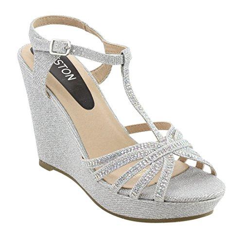 BESTON ID68 Women's Glitter T-Strap Cage Platform Wedge Sandal Half Size Smaller, Color:Silver, Size:6