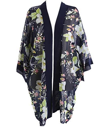 Outrip Women Swimsuit Bathing Suit Beach Cover up Chiffon Floral Kimono Cardigan (Navy Blue with Yellow Flower)