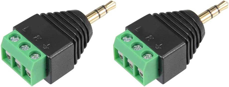 sourcing map 2Pcs RCA Male//Female Connector to AV 2-Screw Terminal Audio Video Adapter CCTV