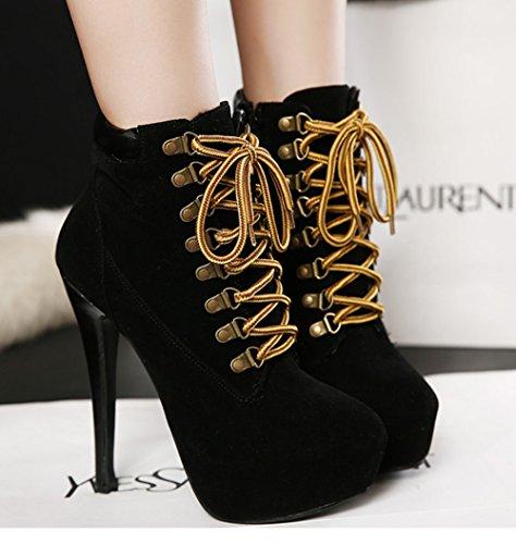 15 Lacets 39 Chaussure Cm À Bottines 35 Aiguilles Femme 37 40 36 38 Taille Padgene Talons Brun Mode Suédé Noir qF8E4w4