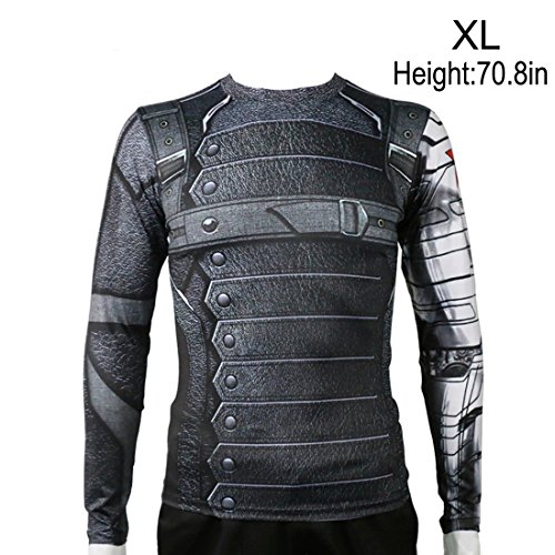 Rulercosplay Civil War Winter Soldier Shirt Long Sleeves Sport Shirt (XL) -