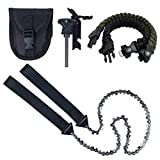 Justech 24Inch Pocket Chainsaw 33pcs serrated Hand Gear Chain Saw With Firestarter Carrying Pouch and Paracord Bracelet Best Folding Hand Saw Tool for Survival, Camping, Hunting, Tree Cutting or Emerg