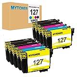 MYTONER 127 Remanufactured Epson 127 T127 Ink Cartridges (10 Pack) High Yield for Epson Stylus NX530 NX625 WF-3520 WF-3530 WF-3540 WF-7010 WF-7510 WF-7520 545 645 840 (Black, Cyan, Magenta, Yellow)
