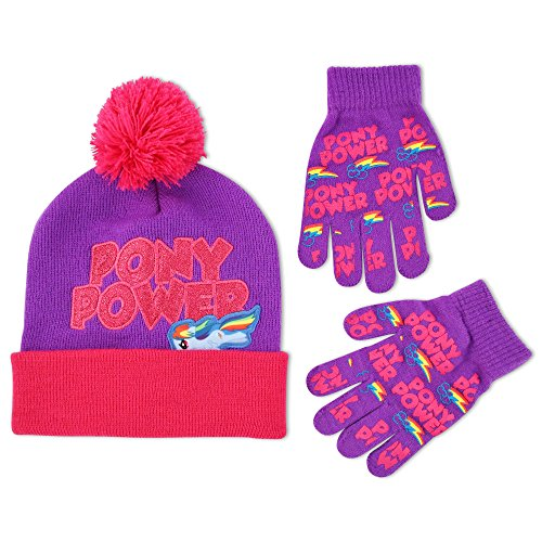 93f4c5ecb67ed Hasbro Big Girls My Little Pony Rainbow Dash Pony Power Acrylic Knit Cuffed Beanie  Winter Hat With Pom and Matching Gripper Glove Set - Buy Online in Oman.