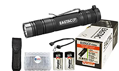 NEW UPGRADED Eagletac D25LC2 Clicky CREE XM-L2 U3 LED Flashlight with 2x Energizer CR123A Lithium Batteries, Lanyard, Holster, and Lightjunction Battery Case