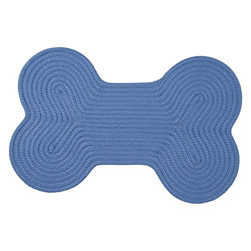 (Dog Bone Solid Scatter Rug, 18 by 30-Inch, Blue Ice)