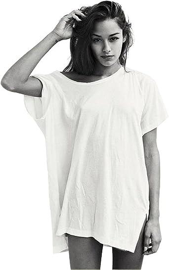 Image of Largo Camisetas Verano Mujer Verano Playa Moda Aesthetic Blanca Negro Blusas Ropa Tops Tallas Grandes Oversize