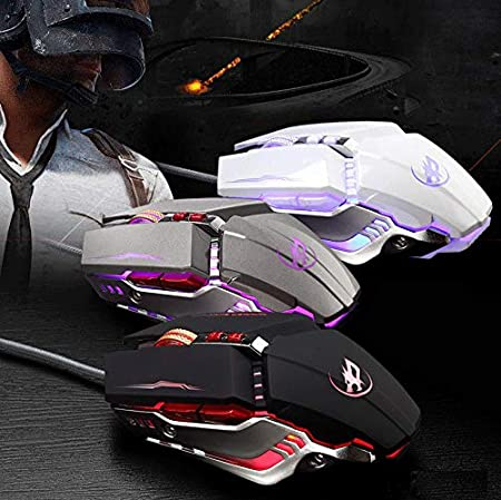 RONSHIN Professional Wired Gaming Mouse 8 Button Optical USB Computer Mouse Silent Mouse for PC Gray