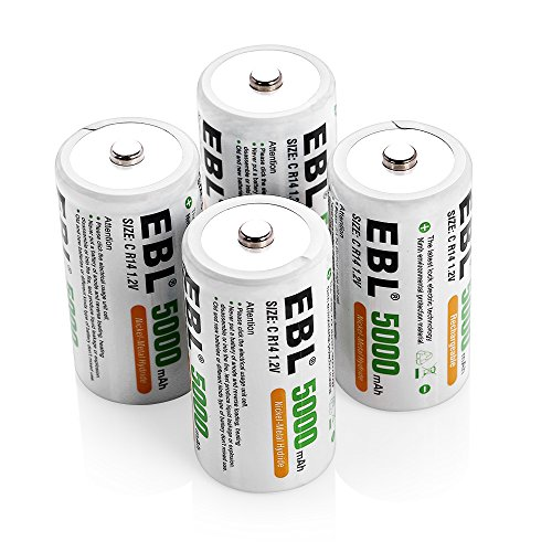 EBL Ni-MH C Size Rechargeable Batteries 5000mAh with Storage Cases, Pack of...