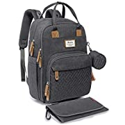 #LightningDeal Diaper Bag Backpack, RUVALINO Neutral All-in-One Baby Bags for Boy Girl, Multifunction Large Travel Backpack with Portable Changing Pad, Stroller Straps, Pacifier Case and Insulated Pockets, Dark Gray