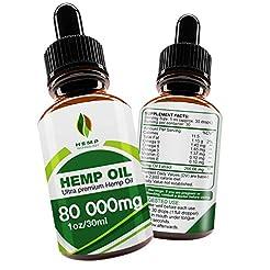 Hemp Oil Drops 80000mg, 100% Natural Ext...