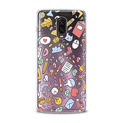 Lex Altern TPU Case OnePlus 6T 6 2018 5T 5 2017 3 2016 One+ Three 1+ Clear Funny Stickers Silicone Bright Colored Pattern Cover Print Protective Lightweight Flexible Girl Hearts Women Transparent -