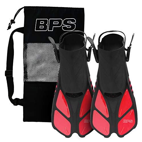 - BPS Swim Short Fins - Open-Toe and Open-Heel Design - for Free Diving, Snorkeling, Scuba Diving - Swimming Flippers for Kids and Adults - Unisex (Red - S/M)
