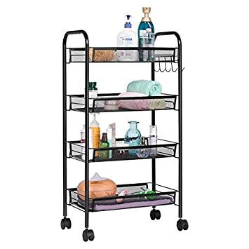 office rolling cart. perfect cart callas metal mesh multipurpose 4tier rolling cart for kitchen bathroom  and office storage intended