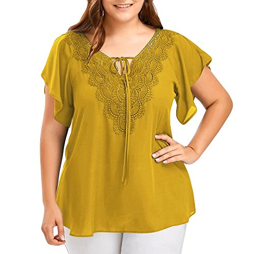 (SMALLE US Womens Fashion O-Neck Casual Chiffon Curve Appeal Lace T-Shirt Blouse Bat Short Sleeve Tops (XXXL, Yellow))