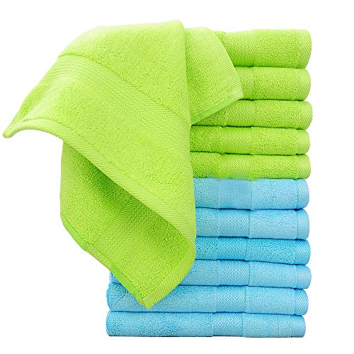 12 Pack Bamboo Washcloths for Face, Kids, Adults, Bathroom Ultra Soft and Absorbent 13