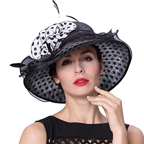 0faa266b9e1 Koola s Women Hats 3 Layers Sinamay Wedding Sun Hat Ascot Race Derby Hat