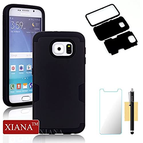 Galaxy S7 Case,XIANA Shockproof Hybrid Rubber Combo Silicone & PC Case Back Cover 3 in 1 for Samsung Galaxy S7 with Stylus, Screen Protector-(Black+Black) Sales