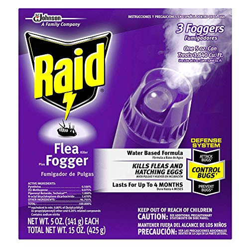 Raid Flea Killer Plus Fogger 3 CT, 5 OZ (Pack - 6)