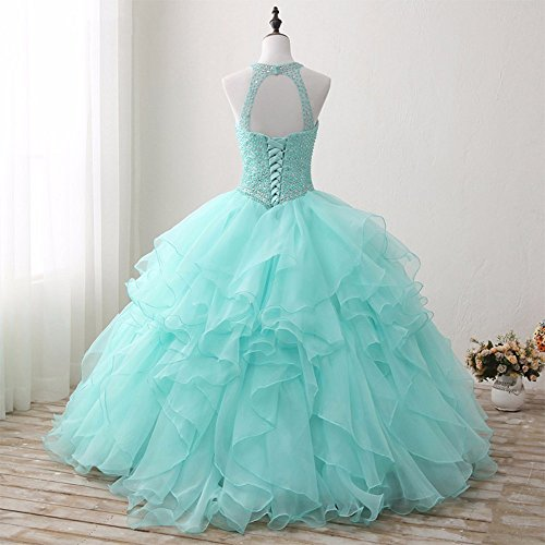 7fd7e167ef MarryingHoney Lisa Ruffles High Neck Long Puffy Pearl Ball Gown Quinceanera  Prom Dress LS252 at Amazon Women s Clothing store