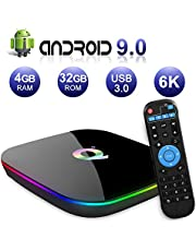 Android TV Box 9.0, 2019 Nieuwste Android Box 4GB RAM 32GB ROM H6 Quad Core Cortex-A53 Smart TV Box, ondersteuning 6K 3D Resolutie 2.4GHz WiFi Ethernet USB 3.0 Media Player