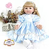BZDOLL 24inch Realistic Soft Silicone Vinyl Toddler Reborn Girl Alive Princess Baby Doll Toy 60cm Lovely Birthday Present