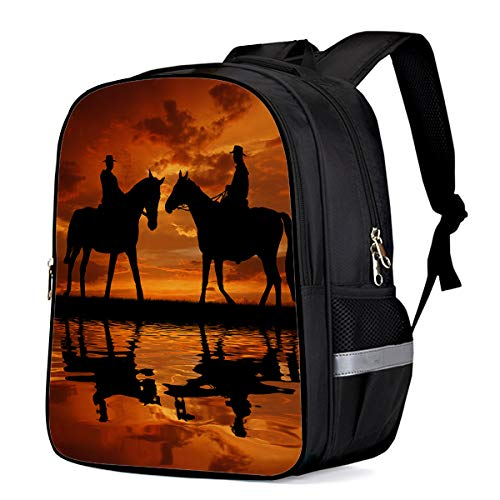 Small School Backpack for Kids/Kindergarten The Shadow of Two Cowboys on Horse Animal Pattern 3D Printed Stylish Laptop Book Bag Lightweight Lunch Bag Daypack for Boys and Girls Arts Language