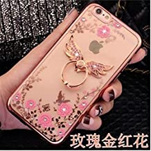 "iphone 6 Plus Case,Secret Garden Butterfly Floral Bling Swarovski Rhinestone Diamond Rotating Ring Stand Holder Case for Apple iphone 6 Plus 5.5"" (Angel Rose Gold-Pink)"