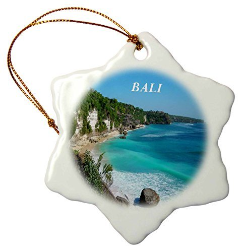 Bali Ornament (Photo of Beach on Bali - Snowflake Ornament, Porcelain, 3-Inch by Valentine Herty)